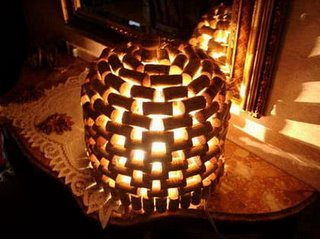 Lamp diy how to make a wine bottle led lamp for Wine cork lampshade