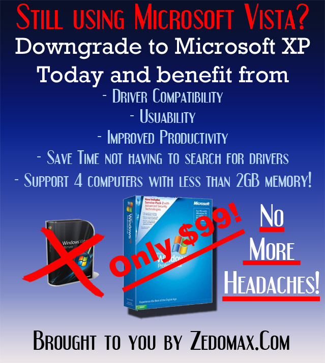Microsoft Upgrade to Vista Parody Ad - Downgrade to XP Today for only $99!14