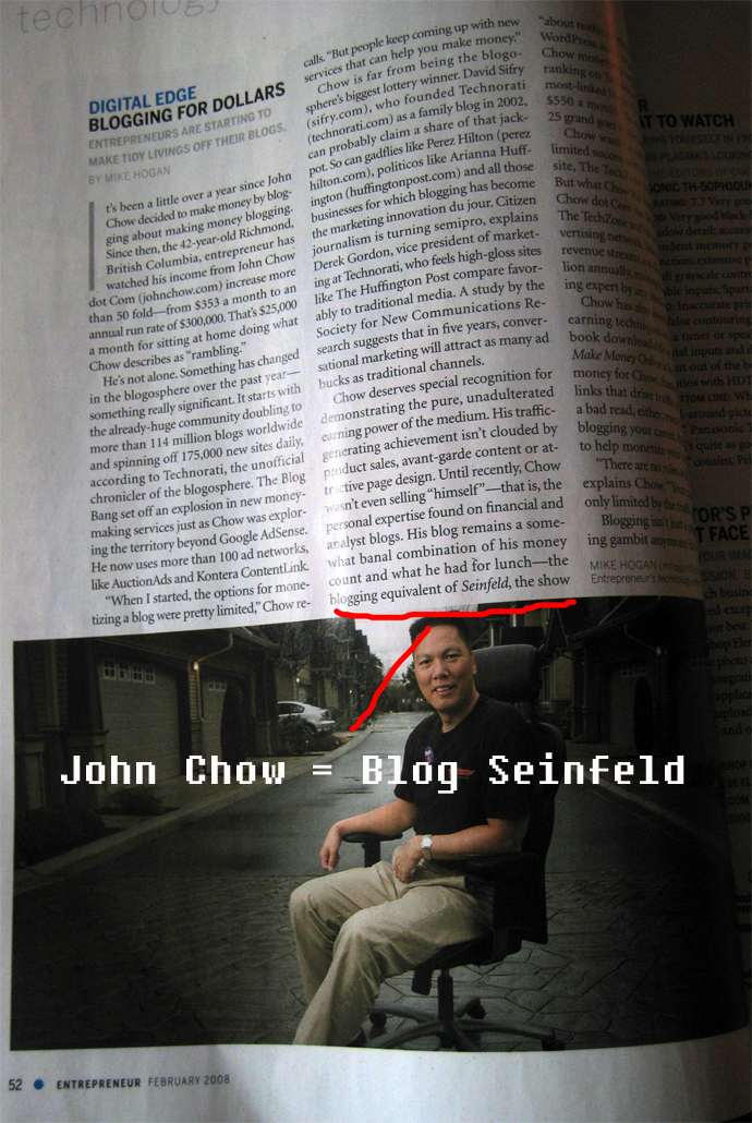 John Chow is the Blogging Seinfeld?2