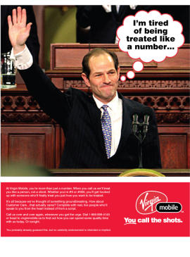 Virgin Mobile turns Spitzer woes into ad copy