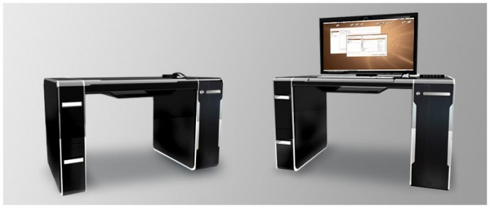 integrated desk with embedded pc and fold away monitor. Black Bedroom Furniture Sets. Home Design Ideas
