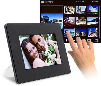 "Nutouch 7"" Digital Frame with MP3 AND Touchscreen does the job indeed."