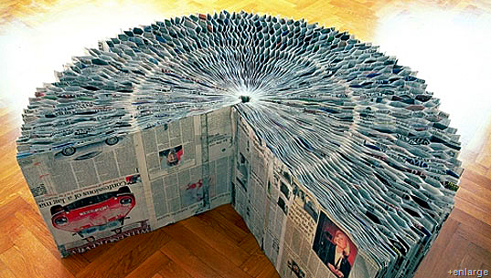 Recycled Newspaper Bench!