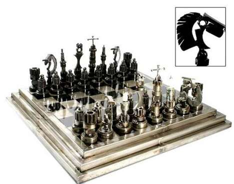 Auto Parts on Chess Set Made From Recycled Auto Parts