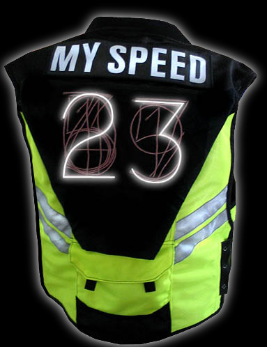 Speed Vest shows you how fast Bike is going!